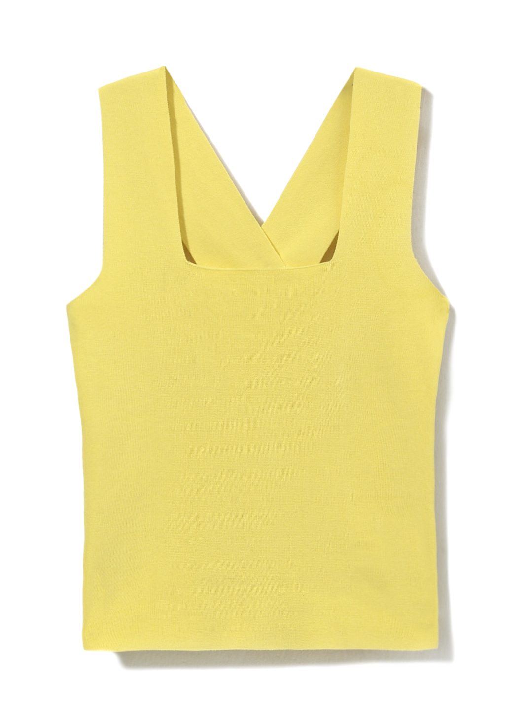 Yellow top with a square neckline